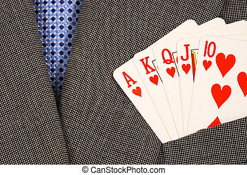 Winning in the business - Royal flush from the poker cards...