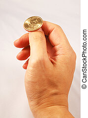 Taking a chance - Flipping a golden coin concepts of taking...