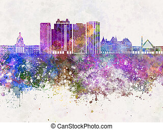 Edmonton V2 skyline in watercolor background - Edmonton...
