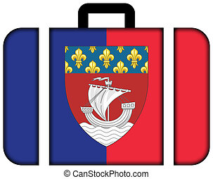 Flag of Paris with Coat of Arms (Escutcheon only), France....