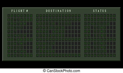 Airport flight destination board showing status - Light -...