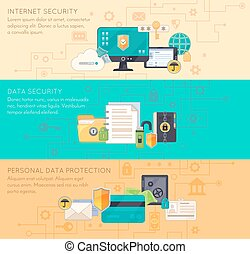 Online Data Protection 3 Flat Banners - Online business...