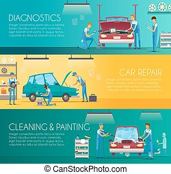 Car Repair Center Retro Cartoon Banners