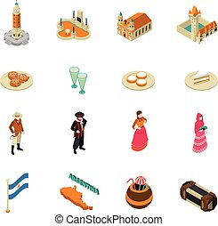 Argentine Touristic Isometric Symbols Icons Collection -...