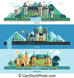 Antique Castles Horizontal Banners