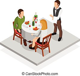Restaurant Meal Concept - Restaurant meal isometric concept...