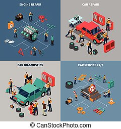 Car Service 4 Isometric Icons Square - Auto service center 4...