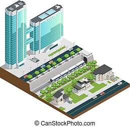 Isometric Skyscrapers And Suburban Houses Composition -...