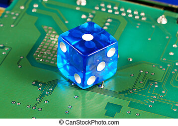 online gambling - Dice on a computer motherboard concepts of...