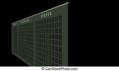Airport flight destination board showing status - Full HD