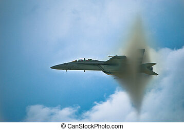 Jet Breaking Sound Barrier - Photo of a jet breaking sound...