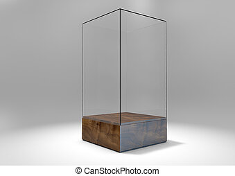Glass Display Case - A 3D rendering of an empty glass...