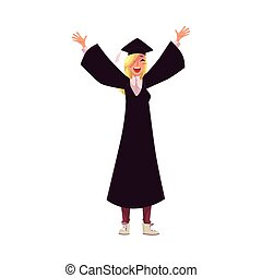 Female student in traditional cap and gown celebrating successful graduation