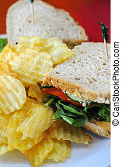 Fast food set meal - Unhealthy potato chips with healthy...