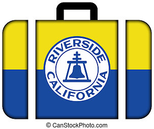 Flag of Riverside, California, USA. Suitcase icon, travel and transportation concept