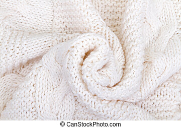 white knitted scarf close-up crumpled