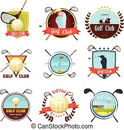 Golf Clubs Retro Style Labels Set - Popular golf clubs retro...