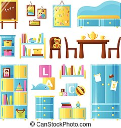Baby Room Furniture Colored Set - Baby room furniture...