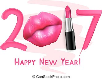 Red Lipstick New Year Poster - Winter 2017 trendy red tint...