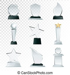 Glass Trophies Collection Transparent Realistic Image -...