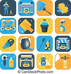 Car Wash Symbols Flat Icons Set - Car wash service symbols...
