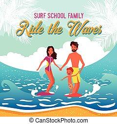 Surf School Vector Illustration
