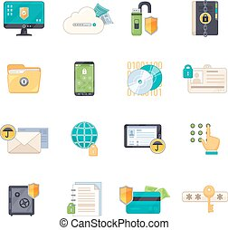 Data Protection Symbols Flat Icons Set