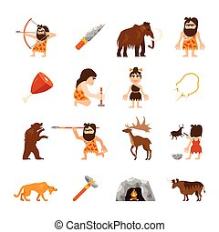 Stone Age Icons Set - Stone age icons set of caveman animals...