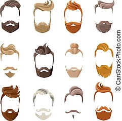 Beard And Hairstyles Face Set - Colorful male silhouette...