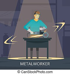 Metalworker Production Process Flat Retro Poster -...