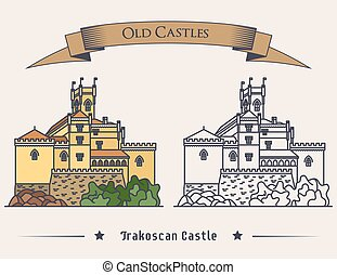 Exterior view on Trakoscan old castle illustration. Vintage medieval architecture sign or palace banner, mansion logo or ancient fort. May be used for landmark logo or historical book