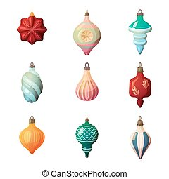 2017 new year fir-tree glass different shape bauble. Merry...