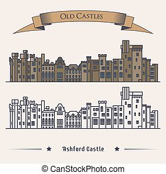 Victorian Irish castle exterior view. Luxury hotel or landmark, retro or old architecture exterior view, vintage medieval facade of building. For historical book illustration or heraldic castle badge