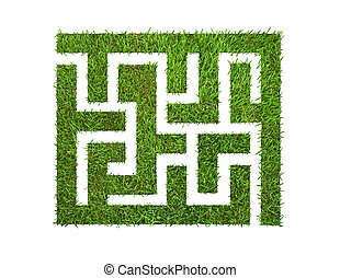 green grass maze, isolated on white