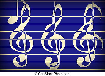 blue music theme background with clef, modern design.