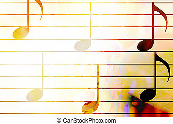 music notes in sun light and color background. Music...