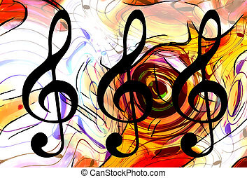 abstract music theme background with clef, modern design. -...