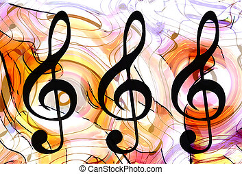 abstract set of music clefs and lines with notes, music...