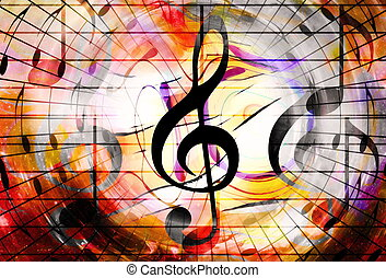 music notes and clef in space with stars. abstract color...