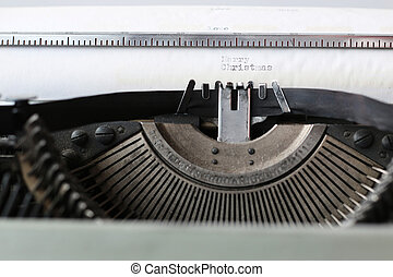 retro typewriter with white paper - Instruments employee...