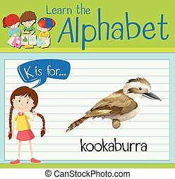 Flashcard alphabet K is for kookaburra illustration