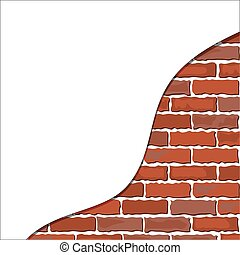 brick wall plaster - brick wall with part of plaster. Vector...