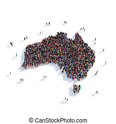 people group shape map Australia - Large and creative group...