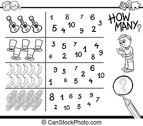 counting game coloring page - Black and White Cartoon...