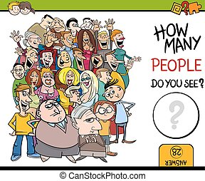 counting people activity task - Cartoon Illustration of...