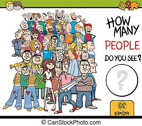 counting people activity - Cartoon Illustration of...