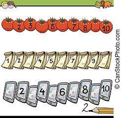 mathematical counting activity - Cartoon Illustration of...