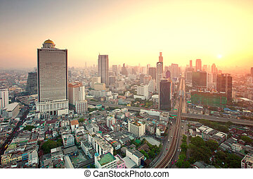 beautiful city scape urban scene of bangkok capital of...