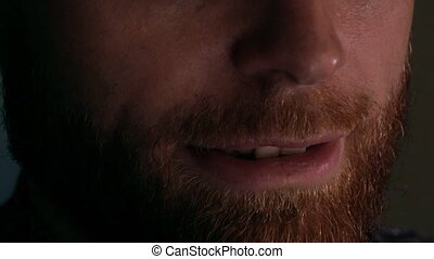 Smiling bearded young man using his tablet computer. Device...