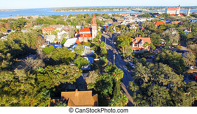 St Augustine from the air, Florida.